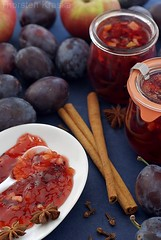 Plum-Apple Jam (2/3) (Thorsten (TK)) Tags: blue winter red food white apple yellow breakfast sweet cinnamon plum sugar jar jam plums fruity jams preserves cloves anise stonefruit marmelade foodphotography staranise cinnamonsticks foodpresentation konfitre winterly foodstyling preservingjars thorstenkraska germanfoodphotography
