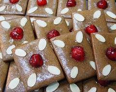 Gingerbread (Peter Arthold) Tags: christmas ginger gingerbread almond redcherry festiveseason dessertpastrysweetpastrychefartistmodernstyle