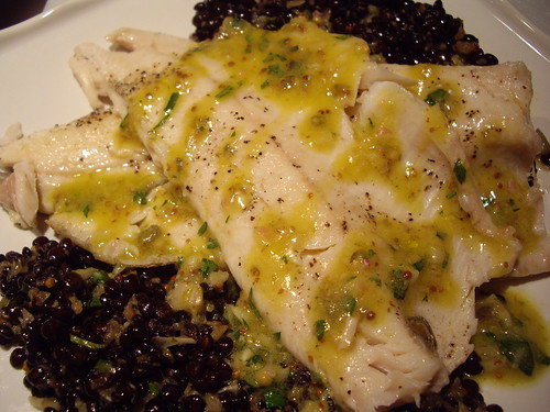 Rainbow Trout with Beluga Lentils and Mustard Vinaigrette