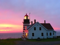 First Sun In The USA (outdoorPDK) Tags: lighthouse sunrise maine lubec westquoddylight westquoddyheadlight