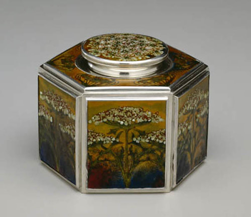 014- Tintero en plata esmaltada 1900-1920