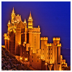 Dalian Castle (Alli Jiang) Tags: china light sky color castle night photoshop gold scenery colorful glow bright chinese dalian retouch hdr edit alli  xinghai luminosity   allijiang