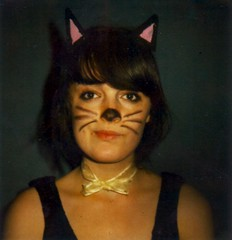 Day 2 - Animal Day (Kate Pulley) Tags: camera blue film halloween me cat polaroid sx70 kat yeah kate 600 meow collaboration balloo borderless flashbar katepulley chrisseyhanson