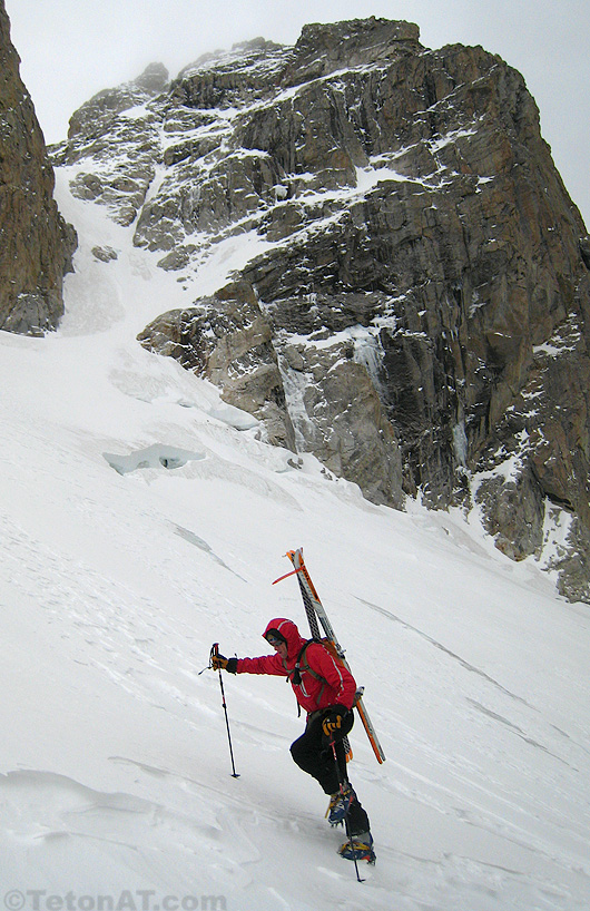 brian harder boots up the middle teton glacier