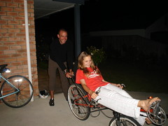 Teaching host Morgan to ride the Street Machine GTe recumbent in Blenheim, New Zealand