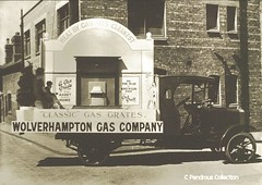 'A gas grate is an asset in every home. No fire to lay or ashes to clear away, with a gas grate' (Lady Wulfrun) Tags: 1920s truck advertising fire grate gas company domestic lorry heating wolverhampton openfire gascompany staffordroad