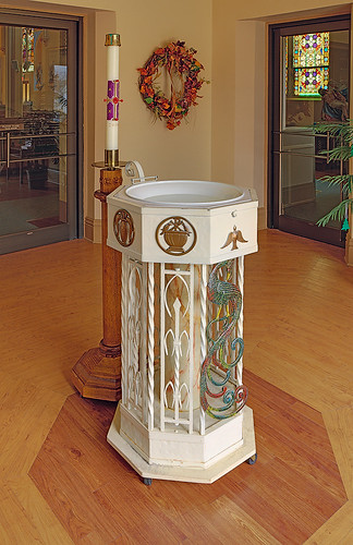 Saint George Roman Catholic Church, in New Baden, Illinois, USA - baptismal font