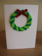 Origami wreath Christmas card
