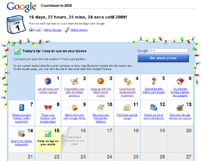 Google Countdown To 2009