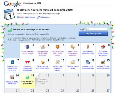 Google Countdown To 2009