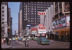 Randolph Street, West From Dearborn - Chicago, Illinois (The Pie Shops Collection) Tags: greyhound chicago bus vintage photo illinois slide bobhope 1963 randolph dearborn cityview citview 1955buick 1961cadillac toffenettis