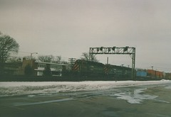 Westbound Burlington Northern double stack container train. La Grange Illinois. January 1987.