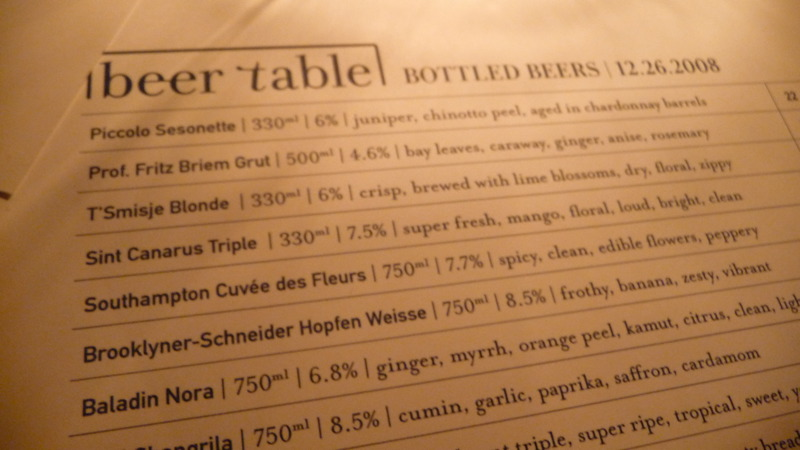Beer menu at Beer Table