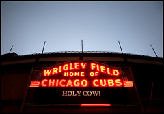 Wrigley Field, Fog #1 (Andy Marfia) Tags: winter chicago rain sign fog iso800 wrigleyfield lakeview chicagocubs allrightsreserved f35 holycow d90 winterclassic 1100sec 18105mm andymarfia