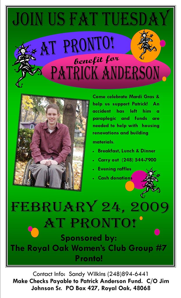 Doing Good:  Fat Tuesday Fundraiser for Patrick Anderson