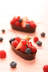 chocolate boats for berries (bananagranola (busy)) Tags: red cooking japan dessert strawberry chocolate ganache blueberry homemade sweets raspberry currant