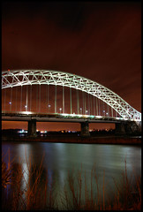 runcorn bridge (Matt_1) Tags: bridge england sky black west cars water car 30 night train liverpool river dark lights europe long exposure north trains pont mersey seconds runcorn merseyside widnes