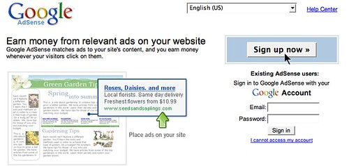 Old AdSense Home Page