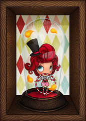 Momo the clown (Anita Mejia) Tags: illustration fire momo circo circus clown fuego payaso snowglobe ilustracion chocolatita anitameja