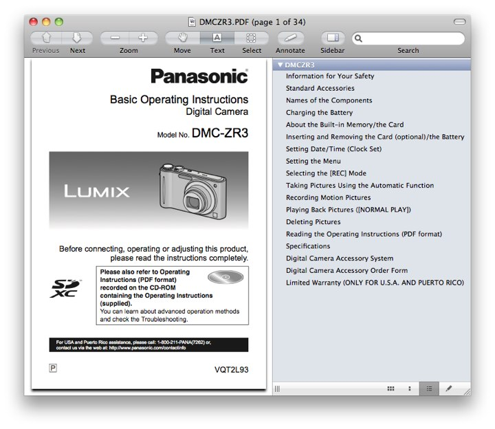 Panasonic ZR3 Manual