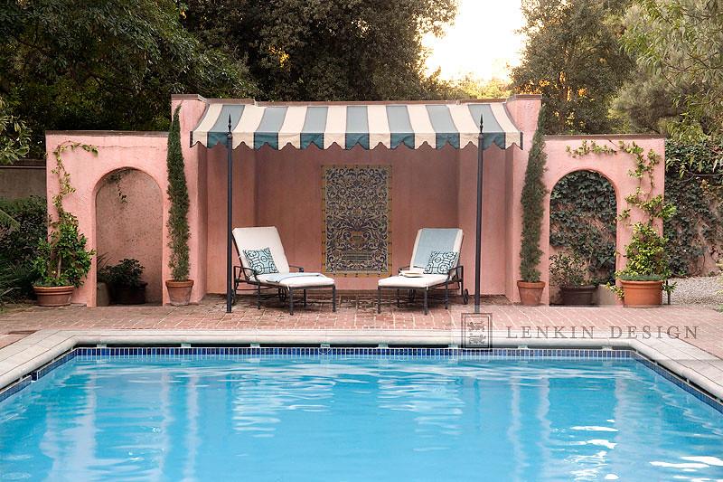 Pink Pool Cabana & Lounge Chairs