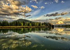 New Light at the Oxbow (Jeff Clow) Tags: morning light reflection nature clouds landscape snakeriver wyoming mountmoran tetons grandtetonnationalpark oxbowbend mtmoran jacksonholewyoming nikond700