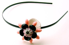 Pink, Black and White Vintage Flowers Headband