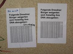 """""""Folgende Dresdner Bürger weigerten sich freiwillig ihre DNA abzugeben"""""""
