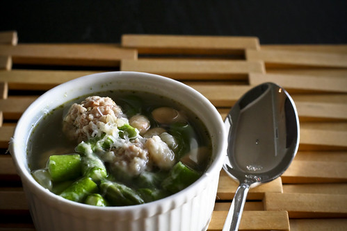 spring asparagus soup with mini meatballs