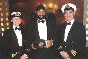 Monty Panesar meets the Navy