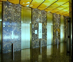 Lobby of the Standard (Dan_DC) Tags: california hotel la losangeles stainlesssteel downtown modernism elevators hotellobby thestandard midcenturymodern midcentury thestandardhotel elevatorlobby modernstyle
