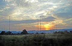 pylons sunset (Urbanimp) Tags: sunset sky pylons fromtrainwindow welshmarches