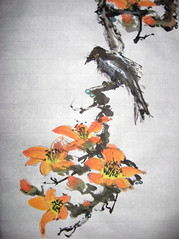 Magpie and Silk Cotton (boydsshufa) Tags: ink watercolor originalart shodo shufa chinesebrushpainting birdandflower