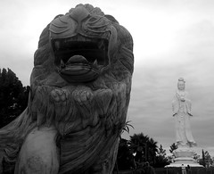 Quan Am with Lion Statue