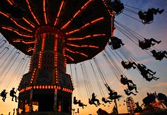 We Like The Ride (TJ Scott) Tags: carnival sunset toronto silhouette ride fair swing cne puppets chapeau amusementpark marionette thrillride artisticexpression anawesomeshot aplusphoto visiongroup platinumheartaward photoexel