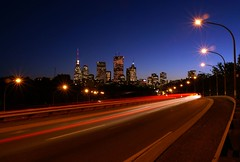 Eastward on Richmond (Jim U) Tags: toronto night highways donvalleyparkway offramp easternavenue sony100 minolta20mm28