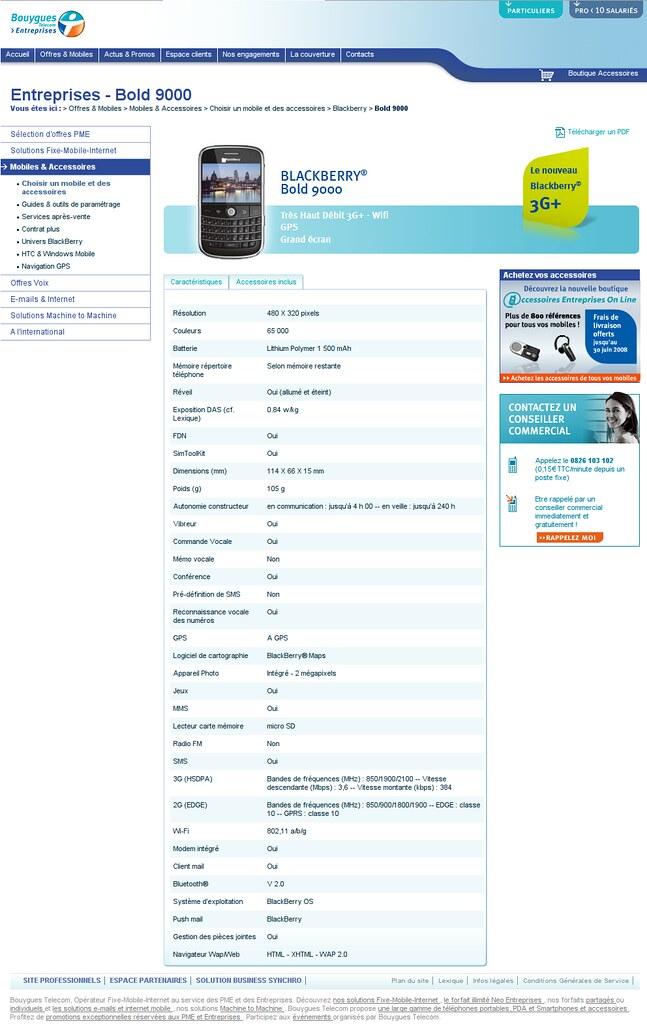 La page dédiée au Blackberry Bold sur le site de Bouygues Telecom Entreprise