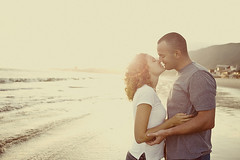 ... (the little red house) Tags: ocean light sunset sun love beach kiss couple flare romantic esession