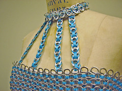 6,925 Aluminum Can Tabs ~ Neckline (Urban Woodswalker) Tags: blue chicago fashion metal illinois aluminum colorful different recycled mixedmedia unique oneofakind ooak environmental surfacedesign textile ribbon wearableart gown eveninggown impressive geekery tabs repurposed pulltabs ecoart ingenious workofart upcycled poptabs trashion swancc solidwastemanagementofnortherncookcounty