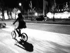 (maggot) Tags: bw girl bicycle night 100v10f fv5 osaka
