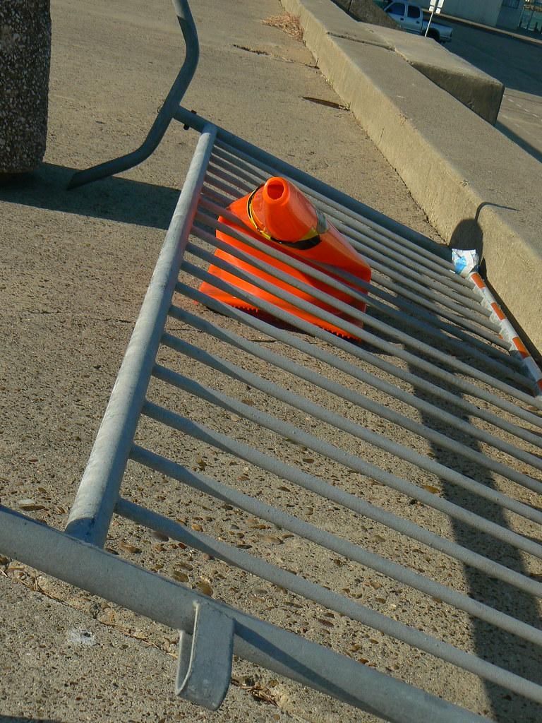 Warning! Falling bicycle racks.