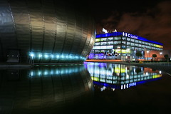IMAX and BBC Building (seggie37) Tags: light cinema colour water television night reflections scotland media glasgow creative quay bbc geotag imax strathclyde govan ineffable bronzeaward beautifulcapture flickraward platinumheartaward artofimages realgem