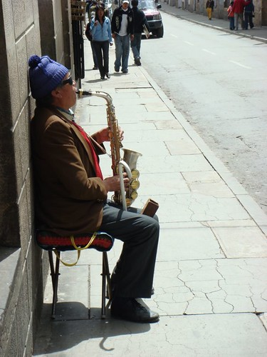 Blind Street Musician in Sucre, Bolivia.