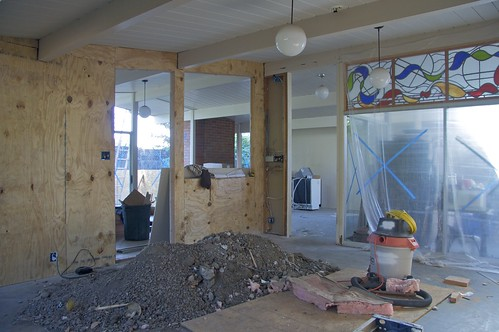 Kitchen to Living Room with Structural Plywood Installed