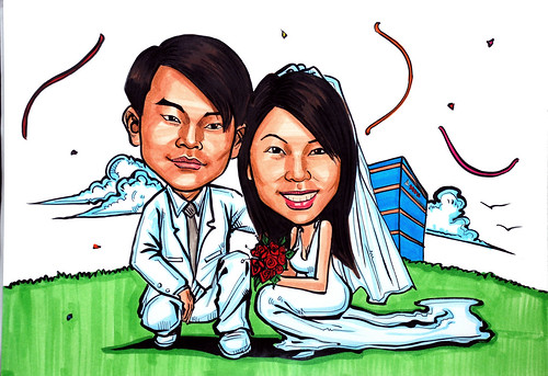 Couple wedding caricatures @ MDIS