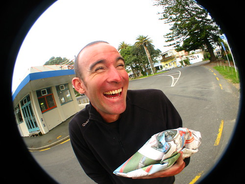 Rob is happy with his fish and chips in Raglan, New Zealand