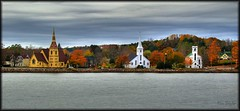 Mahone Bay, Nova Scotia (danrsnyder) Tags: autumn canada fall church water colors nova photoshop bay novascotia ns sony united churches cybershot scotia lutheran hdr anglican mahone mahonebay cs3 photomatix dansnyder photomatixpro 5exp mywinners anawesomeshot photoshopcs3 cans2s dsch50 danrsnyder