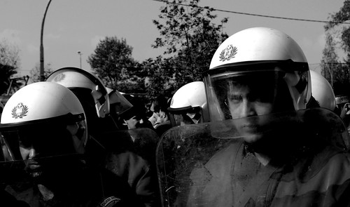 The riot police at the 28th October parade, Thessaloniki