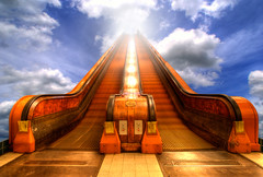Skiescalator (Dimitri Depaepe) Tags: wood sky man clouds photomanipulation person bravo heaven floor escalator digitalart tunnel antwerp bec hdr antwerpen stanna alarecherchedutempsperdu infinestyle bratanesque