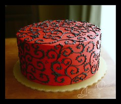Red Cake with Black Scrolls (artofdessert) Tags: cake catchycolors birthdaycake rianne redandblack artofdessert lemonlayercake wmacoctober08 redcakewithblackscrolls